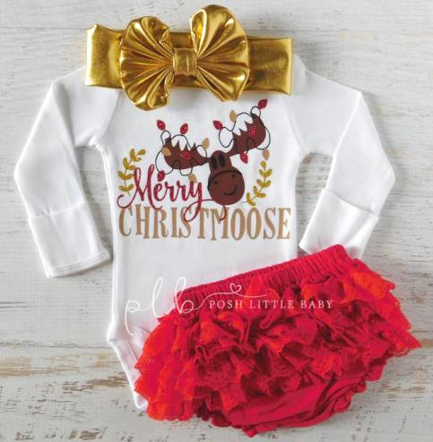 Merry ChristMOOSE Red & Gold Bodysuit