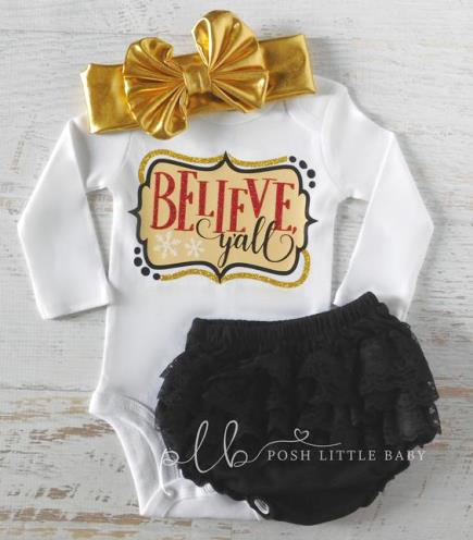 Believe Y'all Southern Christmas Bodysuit
