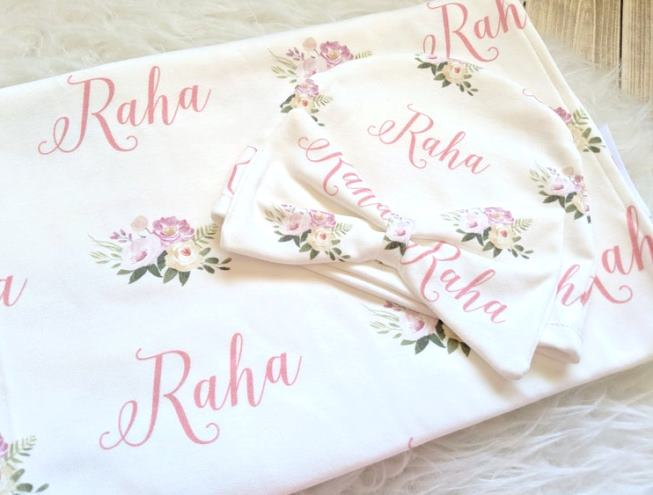 Personalized Pink Floral Swaddle Blanket