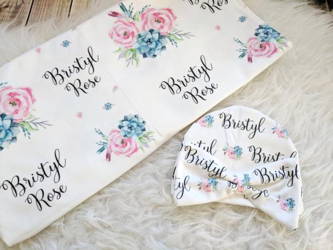Pink & Blue Personalized Floral Swaddle Blanket