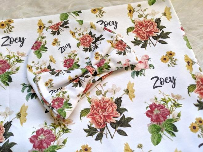 Personalized Fall Floral Swaddle Blanket