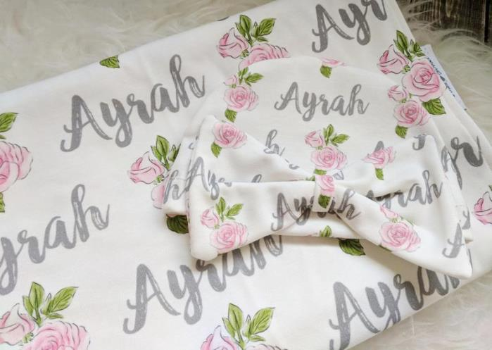 Rose Pink & Gray Personalized Swaddle Blanket