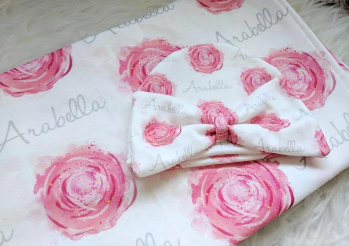 Personalized Sweet Rose Swaddle Blanket