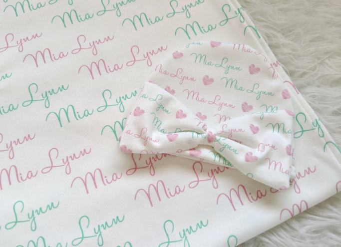 Personalized Pink & Mint Swaddle Blanket