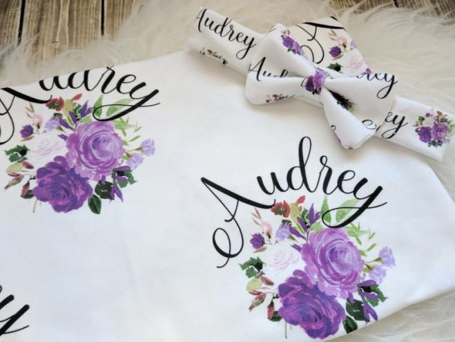 Purple Floral Personalized Swaddle Blanket