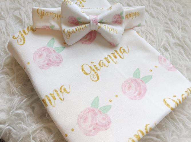 Pink & Gold Floral Personalized Swaddle Blanket