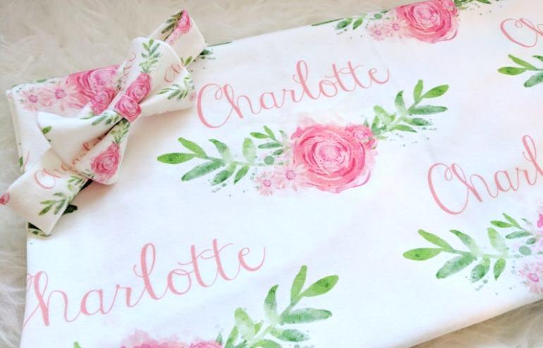 Rose Vine Personalized Swaddle Blanket