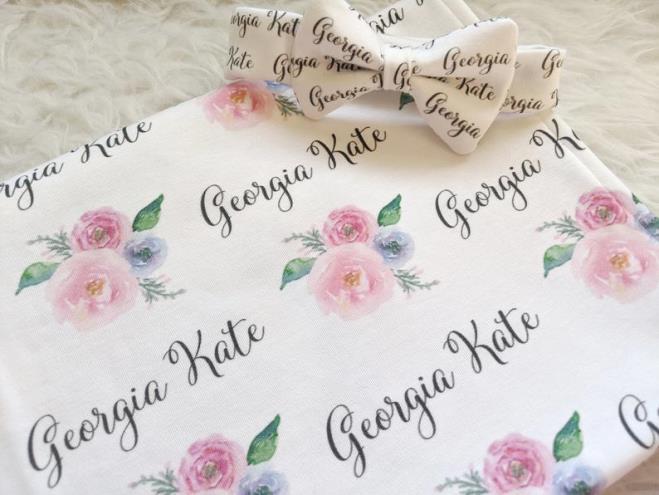 Pink & Violet Rose Personalized Swaddle Blanket