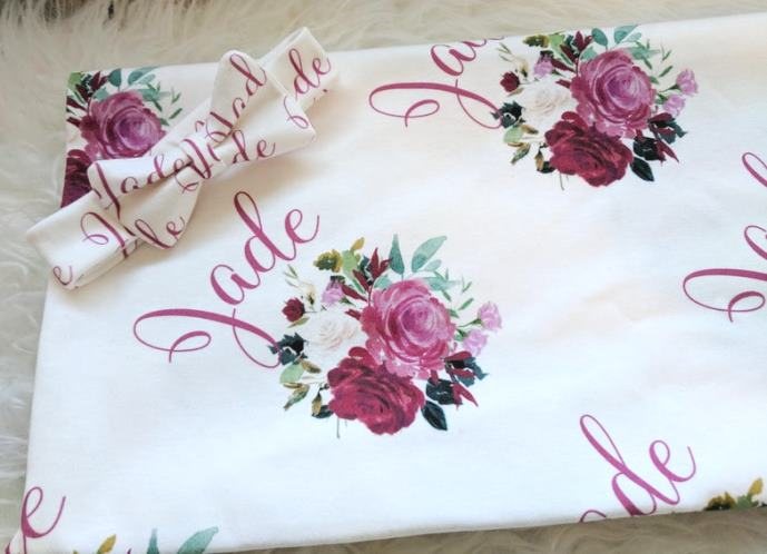 Burgundy Floral Personalized Swaddle Blanket