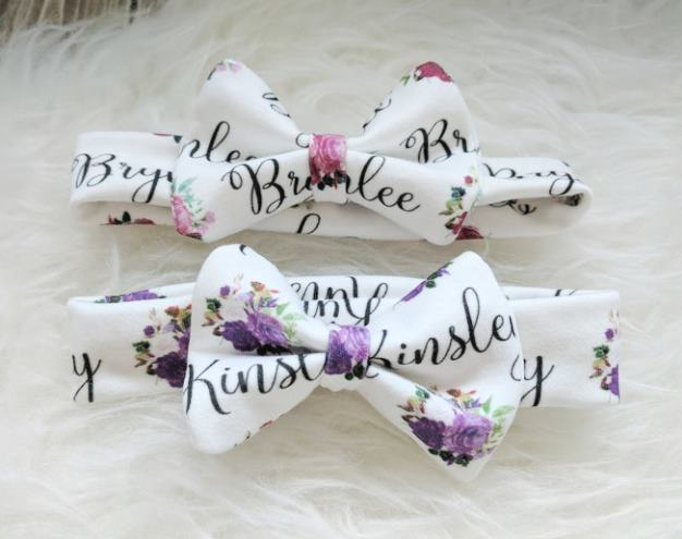Personalized Floral Bow Headband