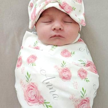 Pink Floral Rose Personalized Swaddle Blanket