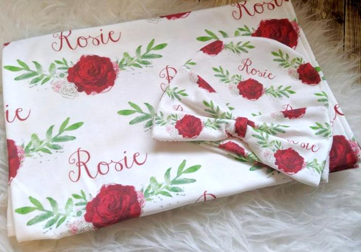 Red Rose Personalized Swaddle Blanket