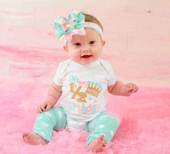 Aqua, Pink & Gold Crown 1/2 Birthday Bodysuit