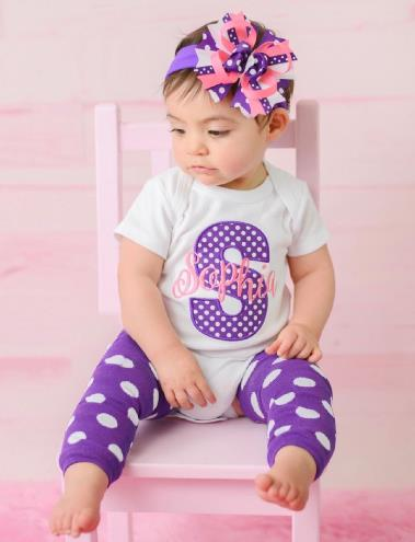 Hot Pink & Purple Personalized Bodysuit