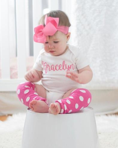 White & Hot Pink Personalized Bodysuit