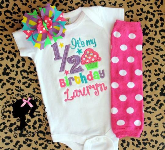 Sweet Cupcake 1/2 Birthday Personalized Bodysuit