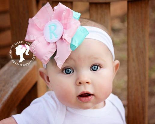 Personalized Baby Pink & Aqua Bodysuit