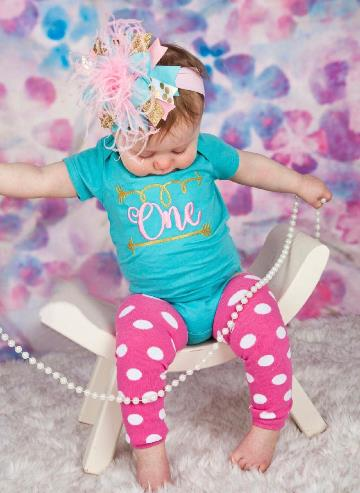 Turquoise & Pink Birthday Bodysuit