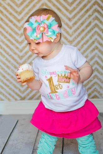 It's My Birthday Aqua & Pink Bodysuit
