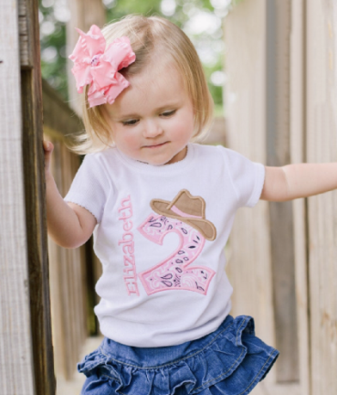 Personalized Pink Cowgirl Birthday Shirt
