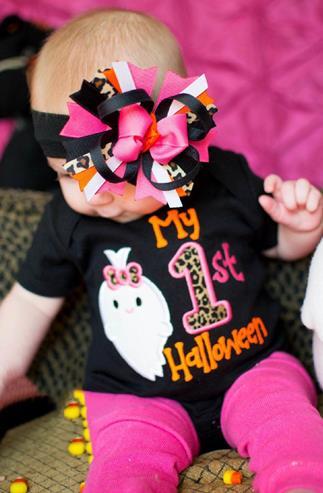 My 1st Halloween Black & Pink Leopard Bodysuit