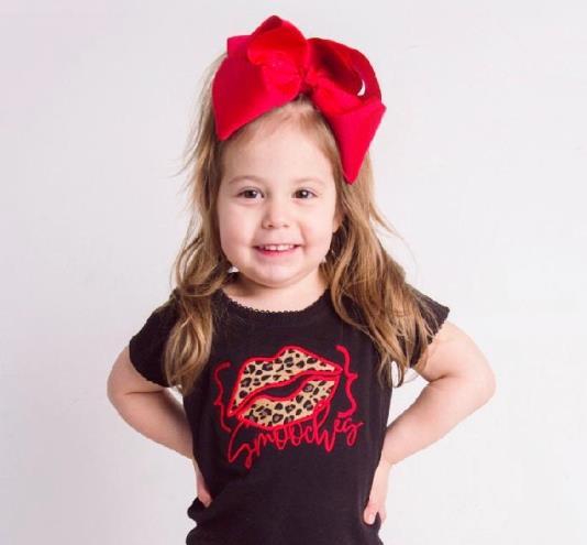Smooches Red Leopard Lips Valentine's Bodysuit
