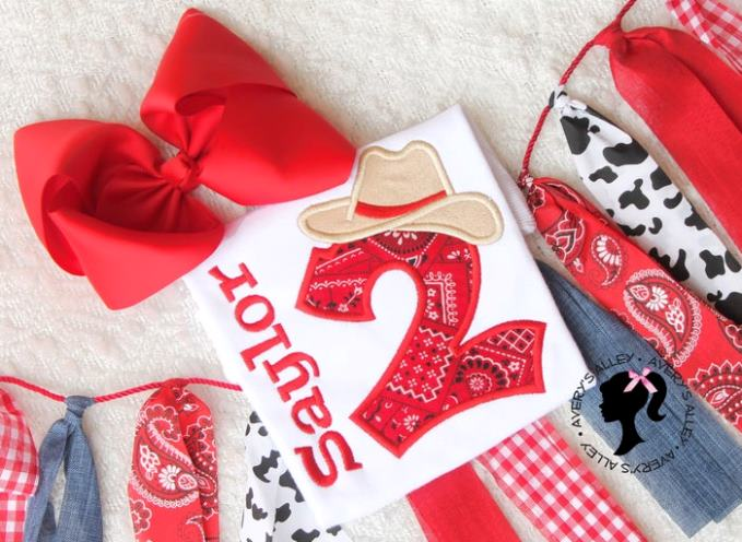 Personalized Red Cowgirl Birthday Shirt
