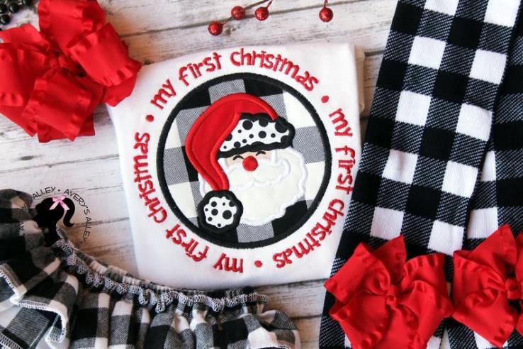 My First Christmas Buffalo Plaid Santa Bodysuit