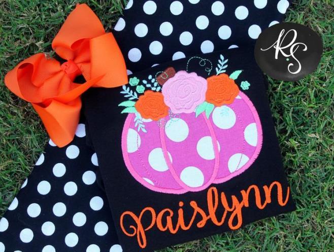Personalized Pink Polka Dot Pumpkin Bodysuit