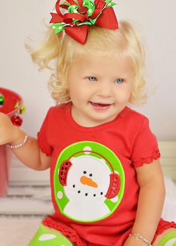 Red & Green Snowman Ruffle Dress