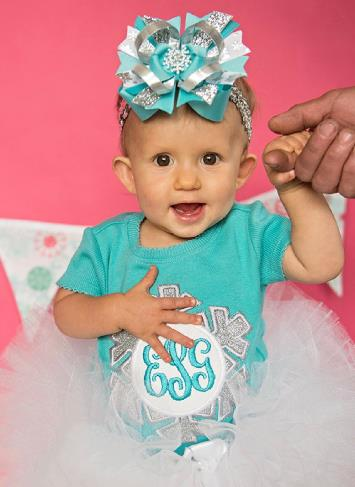 Turquoise & Silver Winter Snowflake Bodysuit with Matching Hair Bow