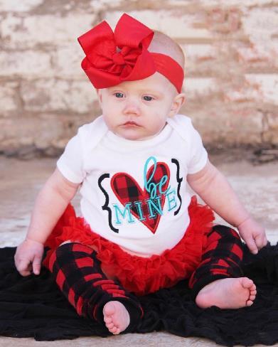 Be Mine Buffalo Plaid Valentine's Day Bodysuit