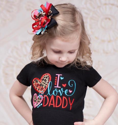 I Love Daddy Leopard Valentine's Onesie