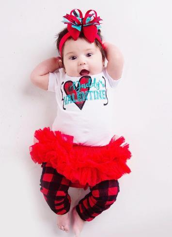 Daddy's Valentine Buffalo Plaid Heart Bodysuit