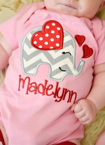 Valentine's Day Elephant Heart Personalized Bodysuit
