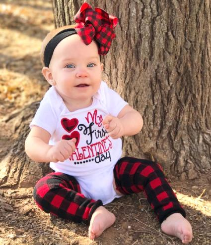 My First Valentine's Day Buffalo Plaid Heart Bodysuit