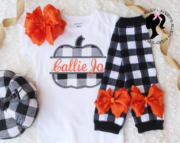 Personalized Buffalo Plaid Fall Pumpkin Bodysuit