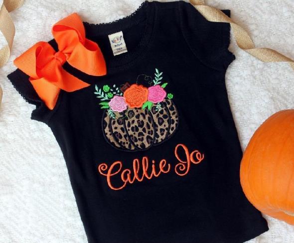 Floral Pumpkin Personalized Bodysuit