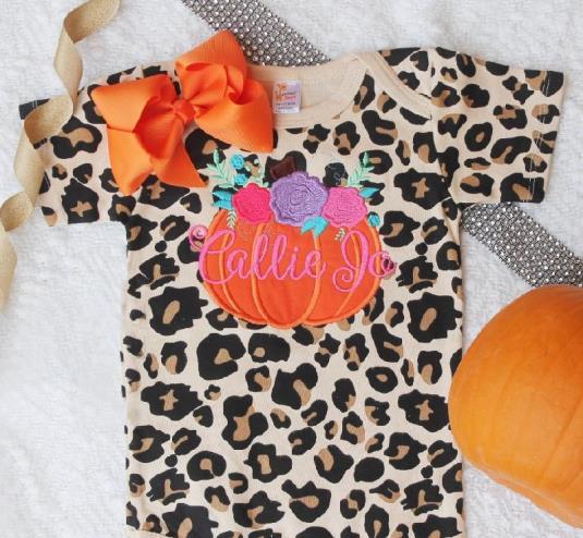 Personalized Floral Pumpkin Leopard Bodysuit