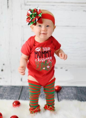 Mommy Kissing Santa Christmas Bodysuit