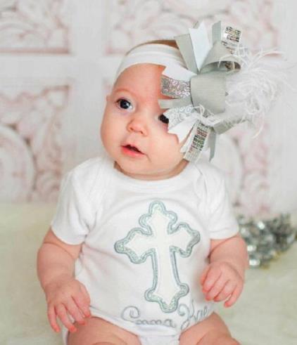 Personalized Silver Glitter Cross Bodysuit