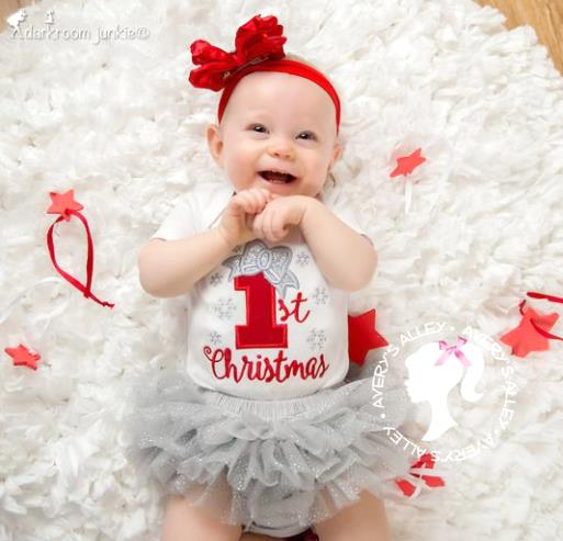 Baby's 1st Christmas Red & Silver Bodysuit