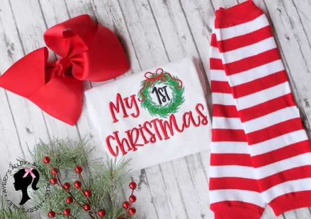 My 1st Christmas Wreath Bodysuit