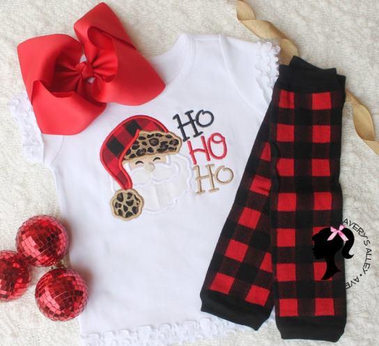 Buffalo Plaid & Leopard Santa Christmas Shirt