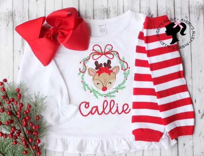 Sweet Little Deer Personalized Ruffle Christmas Shirt