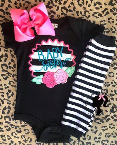Baby Sister Flower Striped Bodysuit