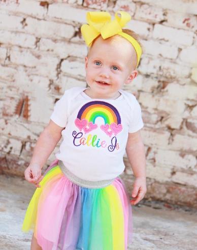 Personalized Rainbow Hearts Bodysuit