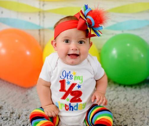 Red Rainbow 1/2 Birthday Bodysuit