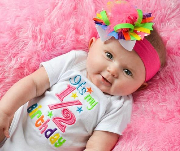 Bright Pink Rainbow 1/2 Birthday Bodysuit