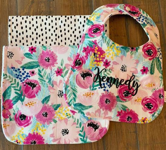 Floral Poppy Seed Personalized Bib & Burp Cloth Set